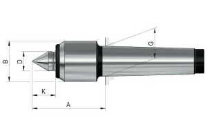 Live centres- tip angle 60°, Mount MK 6, Size 14,small casing diameter - 2