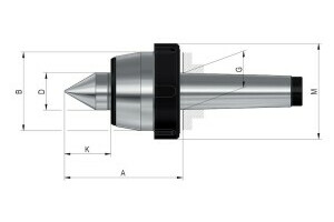 Live centres- tip angle 60°, Mount MK 5, Size 110, HGdraw-off nut - 2