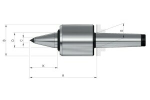 Live centres- tip angle 60°, Mount MK 5, Size 755, extended NC-centre pointcarbide insert - 2